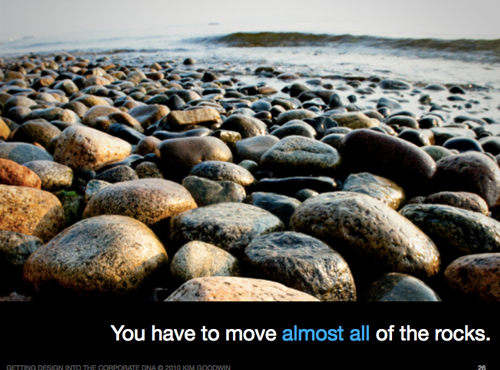 This slide illustrates the idea of moving the rocks in your organization
