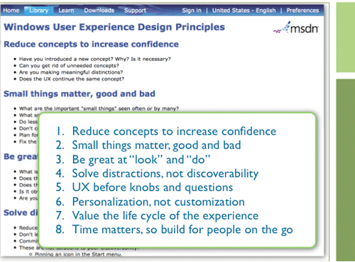 Windows 7 Desktop Team's set of design principles