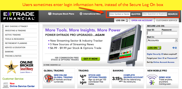 ETrade Home Page
