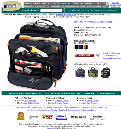 eBag.com's product page