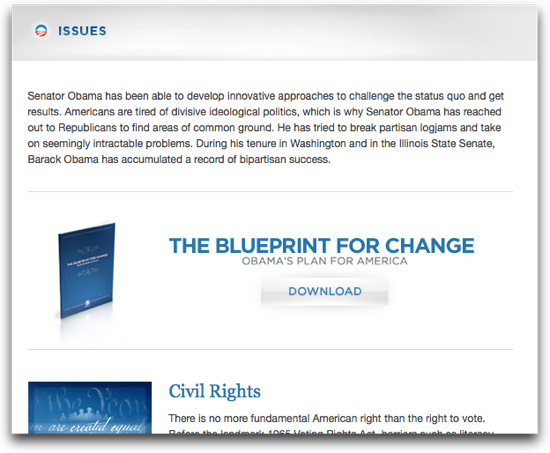 You can download a 33-page book from BarackObama.com. Can't easily be printed though.
