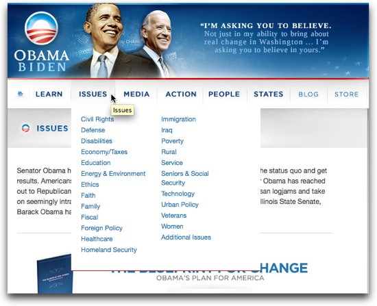 The categories of Issues on BarackObama.com