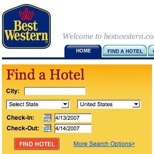 BestWestern.com's Find A Hotel tool