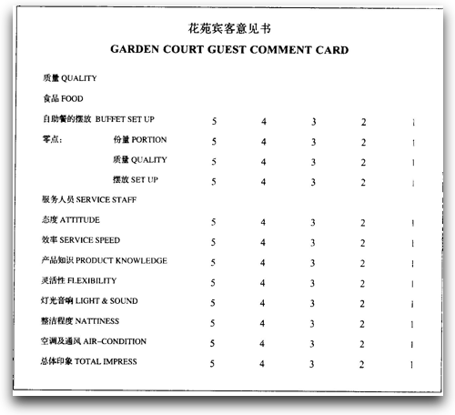 Customer service rating card from hotel in China