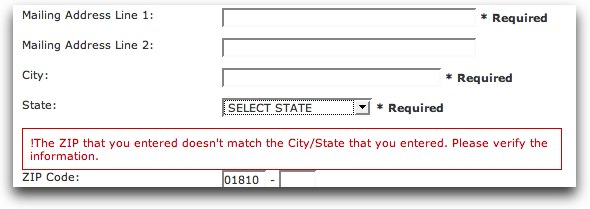 Form con la scritta: !The ZIP that you entered doesn't match the City/State you entered. Please verify the information.