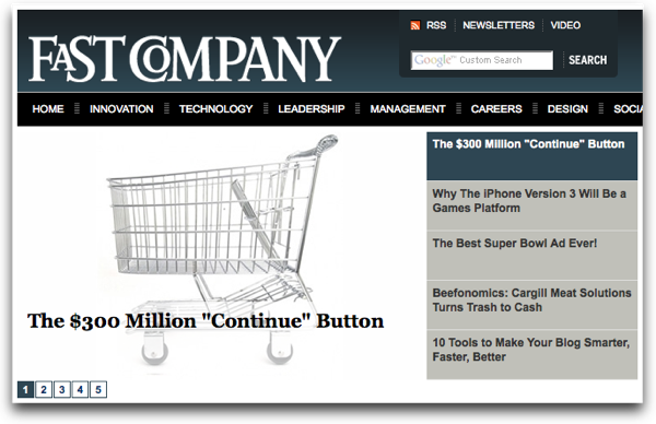 Our article featured on the home page of FastCompany.com