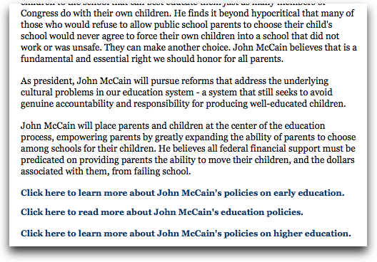On JohnMcCain.com, you have to pogostick between pages to see the entire position.