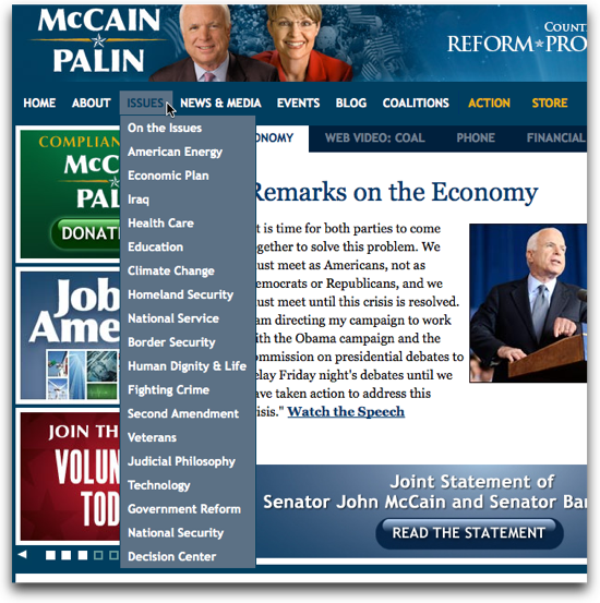 The categories of issues at JohnMcCain.com
