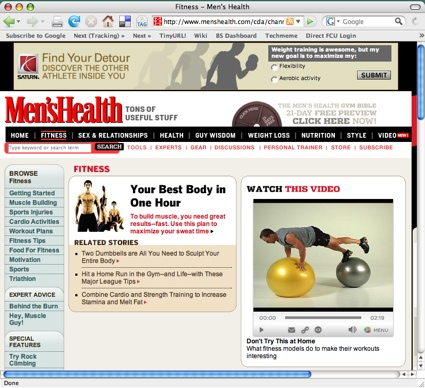 Original size window of the fitness page at MensHealth.com