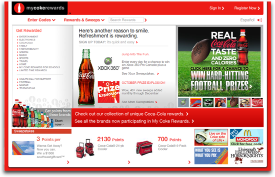 MyCokeRewards.com in FireFox