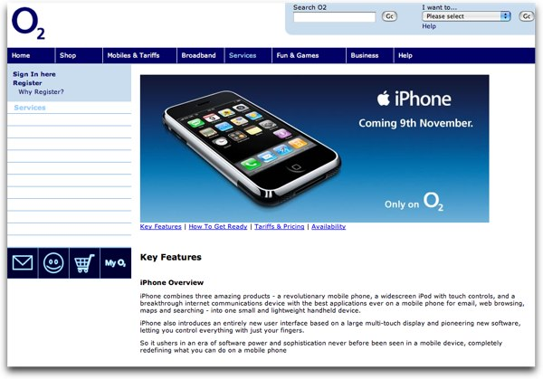 O2's iPhone Page, seen from a Safari Browser