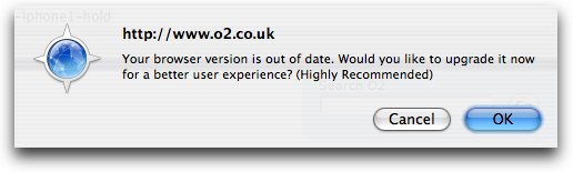 Camino Error Message when visiting O2's iPhone Page