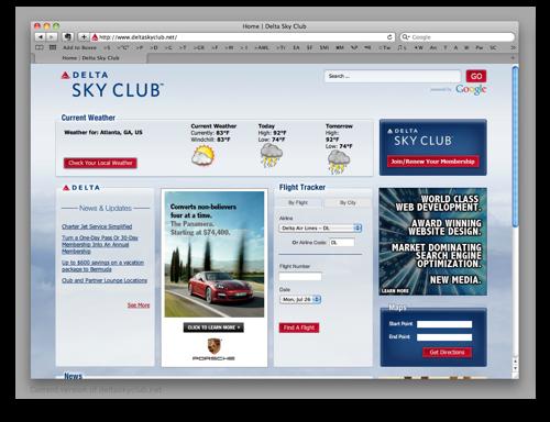 Original Delta Sky Club Portal Page
