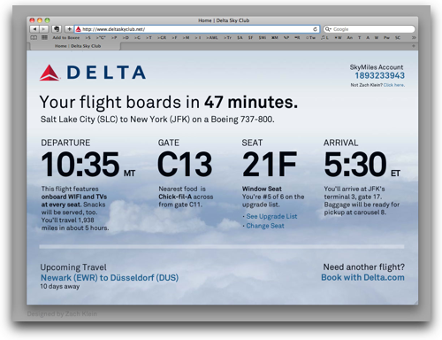 Redesigned Delta Sky Club Portal by Zach Evans