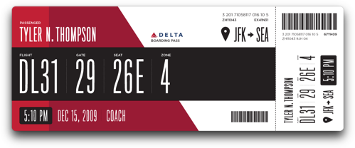 Tyler Thompson's Redesigned Delta Boarding Pass