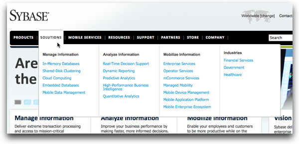 Sybase.com's Solutions Menu