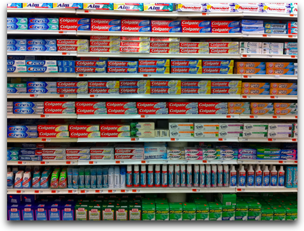 Toothpaste choices at the supermarket