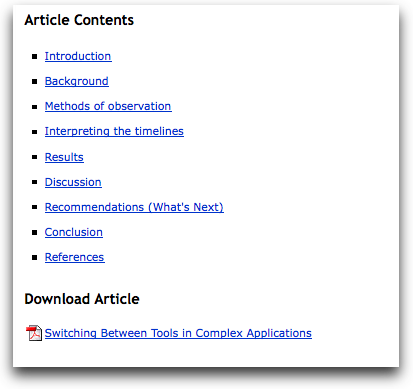 The Table of Contents for an article in the Journal of Usability Studies
