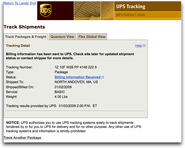 Revised UPS Tracking Dialog