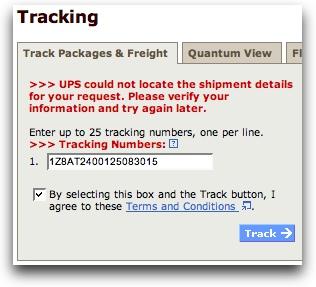 Original UPS Tracking Dialog