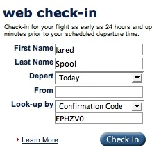 USAirways.com Check In Page