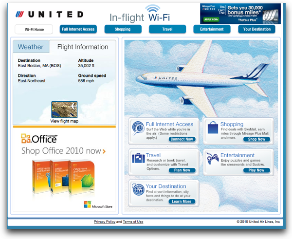 United In-Flight wi-fi Home Page