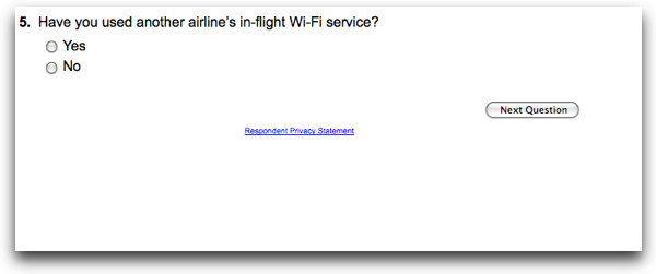 Have you used another airline's in-flight Wi-Fi service?