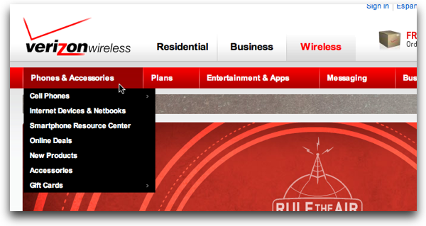 VerizonWireless.com Global Nav