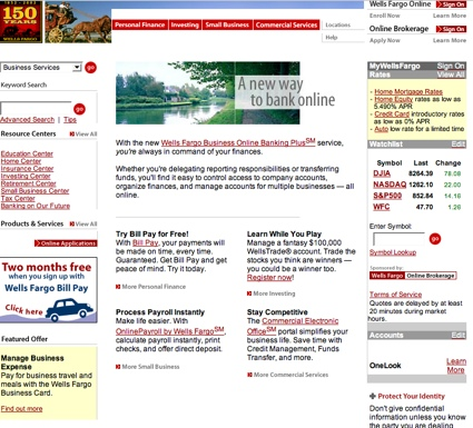 WellsFargo.com 2002 Home Page [Archive.org]