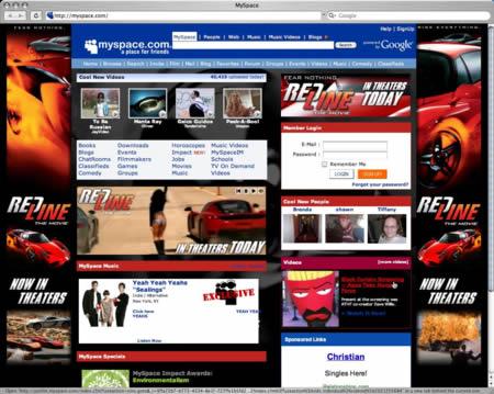 MySpace homepage